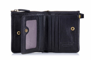 BULLCAPTAIN LEATHER BIFLOD RFID BLOCKING MEN ZIPPER WALLET WITH LARGE CARD POCKETS - 058