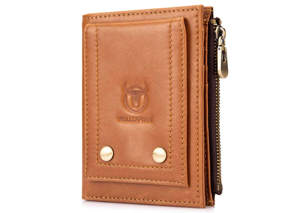 BULLCAPTAIN LEATHER BIFLOD RFID BLOCKING MEN VINTAGE WALLET WITH COIN POCKET - 07