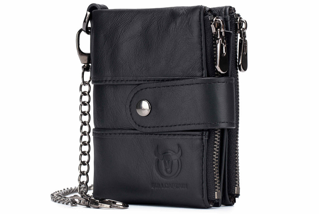 BULLCAPTAIN LEATHER BIFLOD RFID BLOCKING MEN WALLET DETACHABLE ID BADGE HOLDER WITH ZIPPER COIN POCKET AND A DETACHABLE CHAIN BUCKLE - 08
