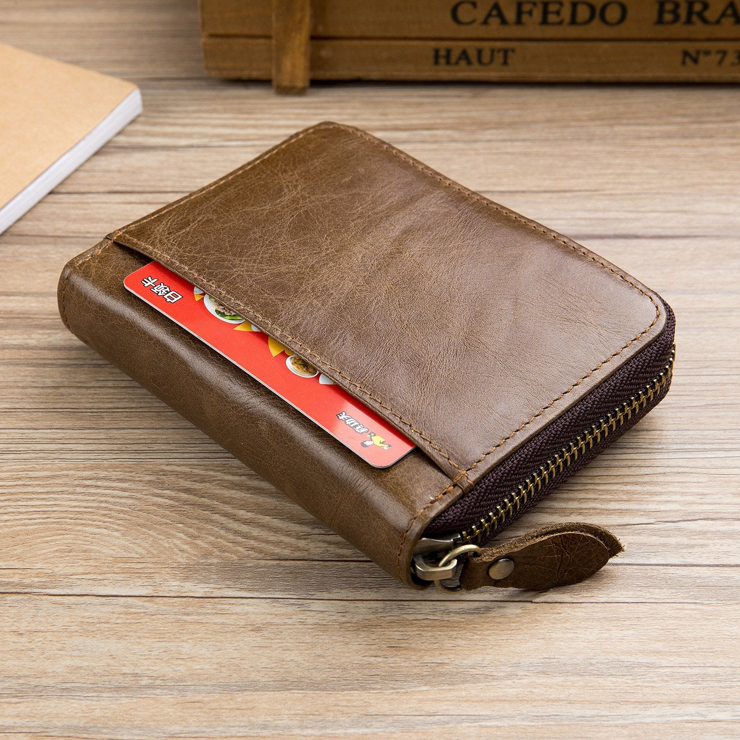 BULLCAPTAIN LEATHER ZIPPER AROUND BIFLOD RFID BLOCKING MEN WALLET - 032