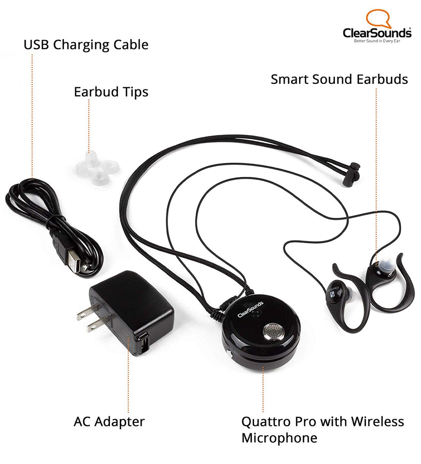ClearSounds QT4PRO Quattro Pro Portable Assistive Listening System - Bluetooth Neckloop and Removable Omni-Directional Microphone - T-Coil Hearing Aid Compatible