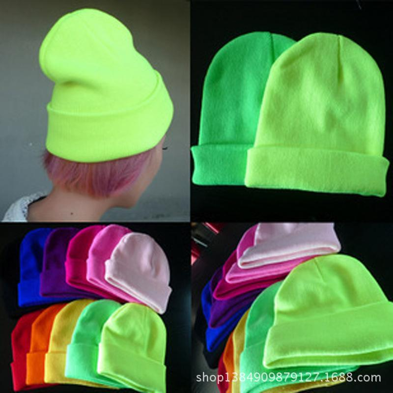 2019 Fashion 19 Colors Knitted Neon hat