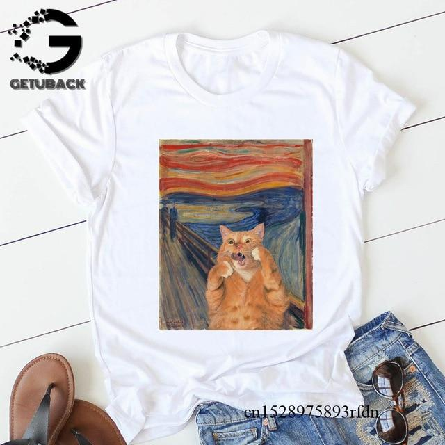 Women Funny Cat Print T shirt