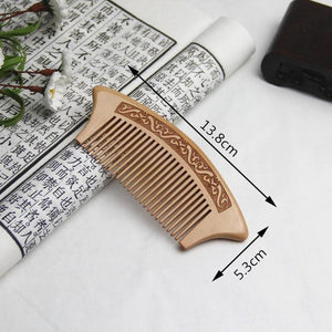 1Pc Peach Wood Comb Anti-static Close Teeth Comb