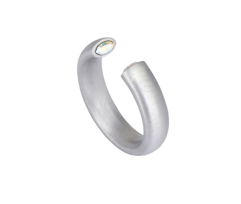 The Zero Ring - Silver Satin - Charlotte Valkeniers Design Ltd