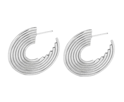 Long Coil Earrings - Silver Polished