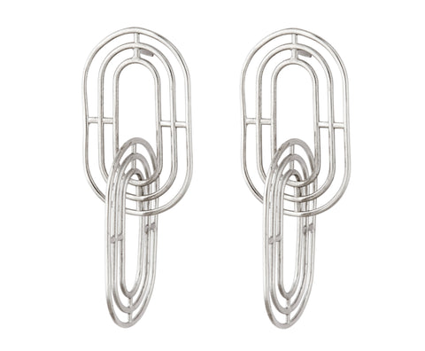 Script Ear Climber - Silver Polished
