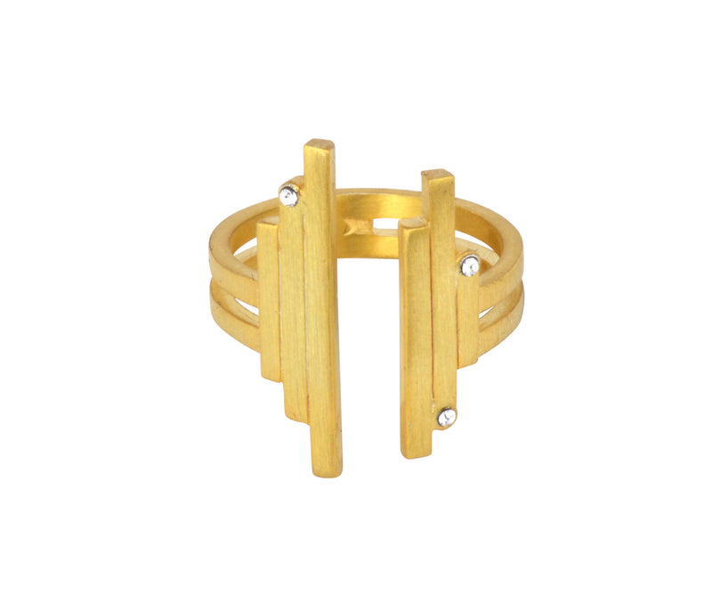 The Open Matrix Ring - Gold Satin - Charlotte Valkeniers Design Ltd