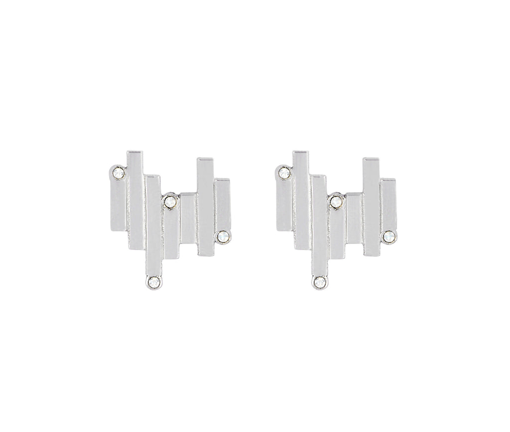 The Matrix Studs - Silver Satin - Charlotte Valkeniers Design Ltd