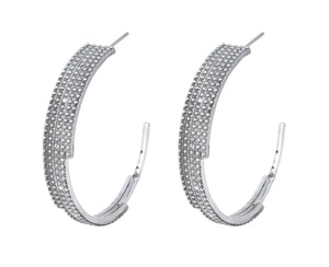 Digit Hoops - Silver Polished - Charlotte Valkeniers Design Ltd