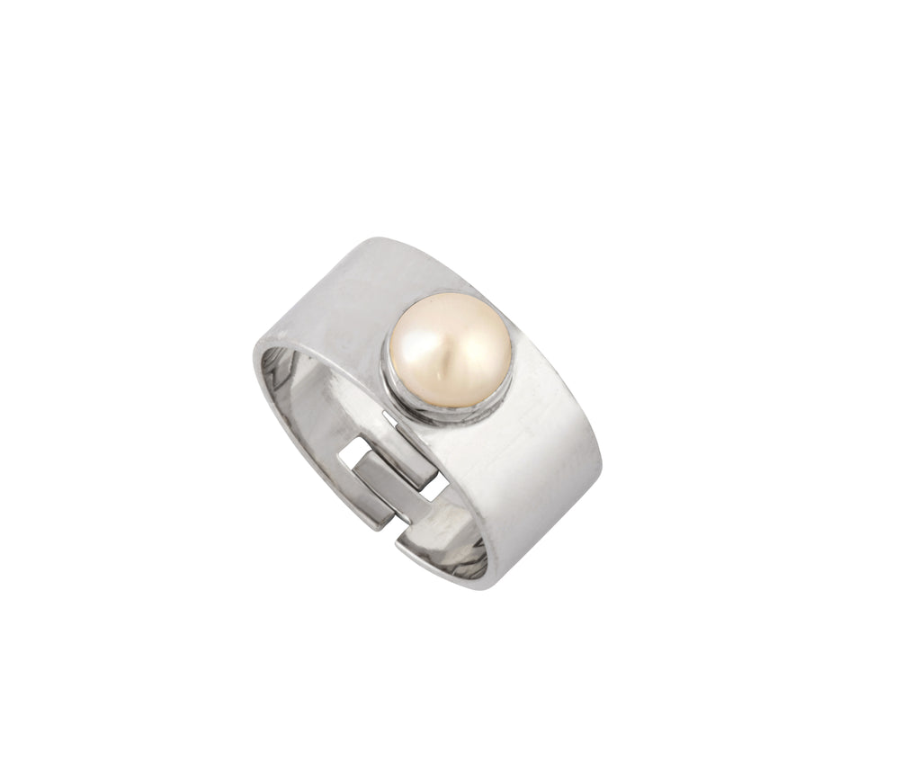 Cyto Ring - Silver Polished/Pearl - Charlotte Valkeniers Design Ltd