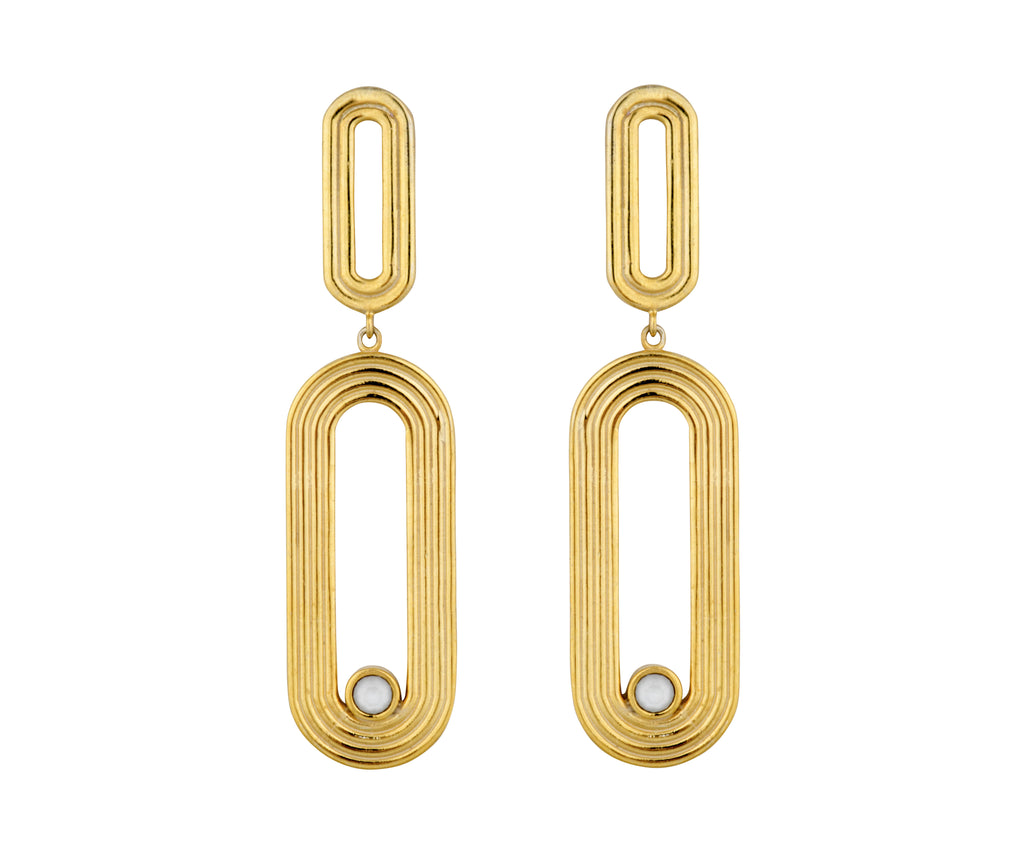 Pilot Earrings - Gold Polished - Charlotte Valkeniers Design Ltd