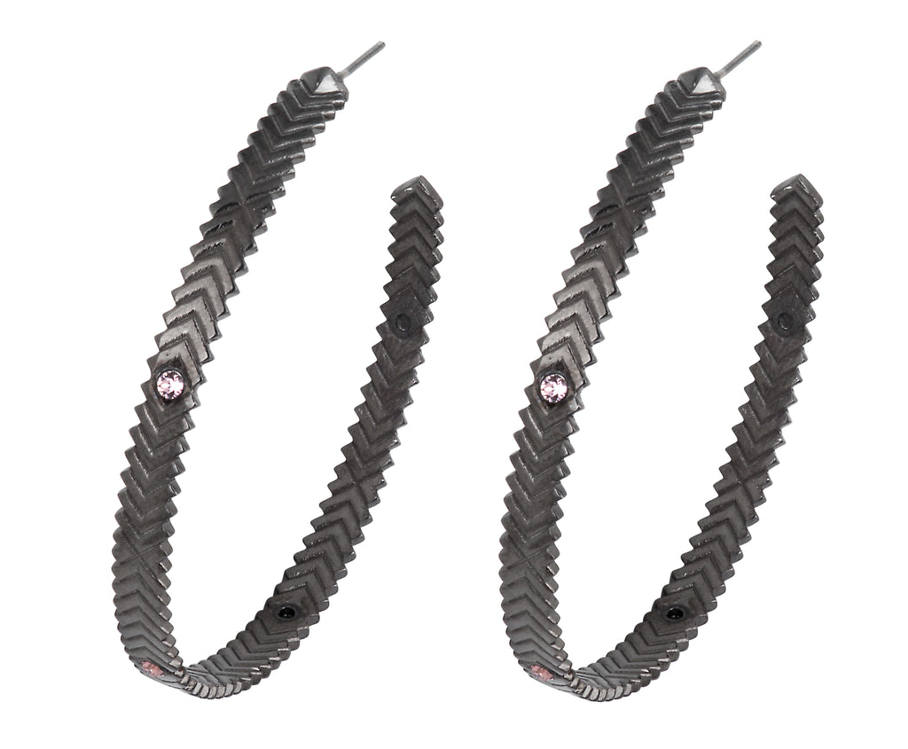 Solar Hoops - Gunmetal Polish - Charlotte Valkeniers Design Ltd