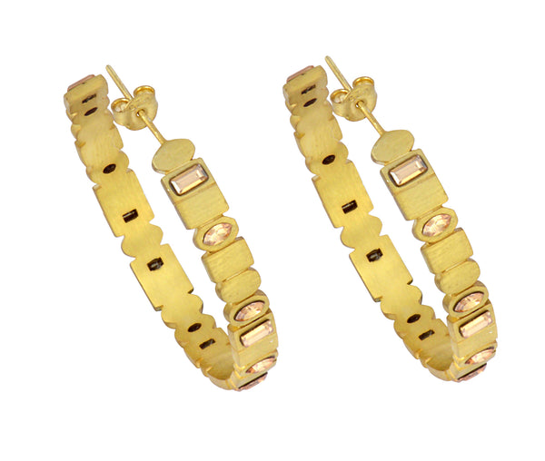 The Large Digit Hoops - Gold Satin