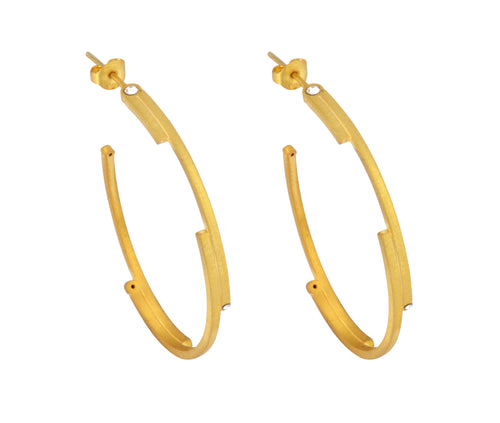 The Oval Digit Hoops - Gold Satin