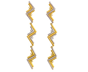 Long Cluster Earrings - Gold/Silver Polish - Charlotte Valkeniers Design Ltd