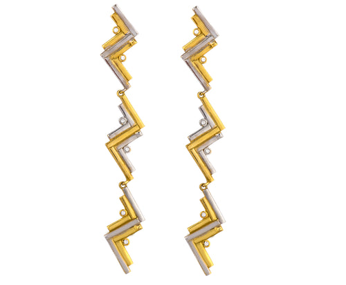 Long Cluster Earrings - Gold/Silver Polish