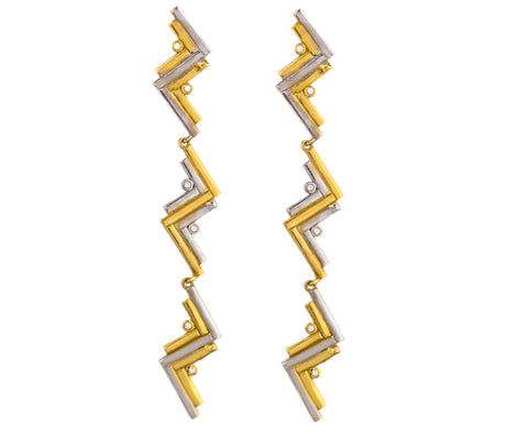Wave Earrings - Silver/Gold Satin