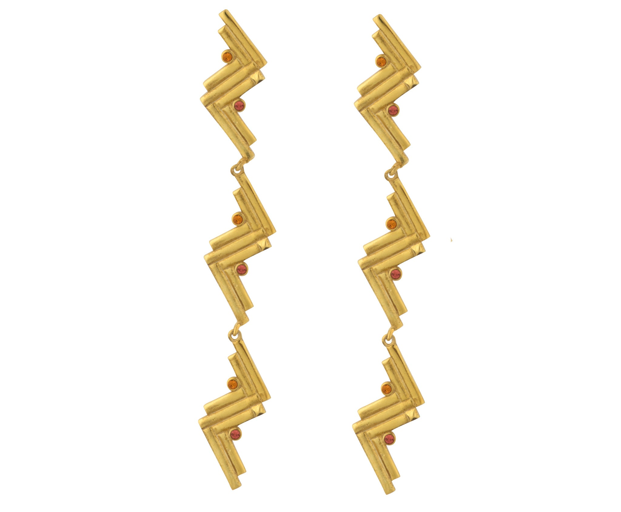 Long Cluster Earrings - Gold Polish