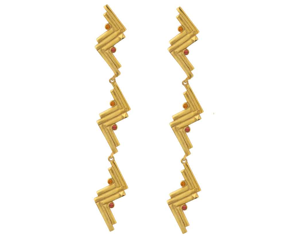 Long Cluster Earrings - Gold Polish - Charlotte Valkeniers Design Ltd
