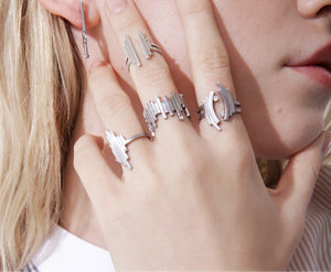 The Open Matrix Ring - Silver Satin - Charlotte Valkeniers Design Ltd