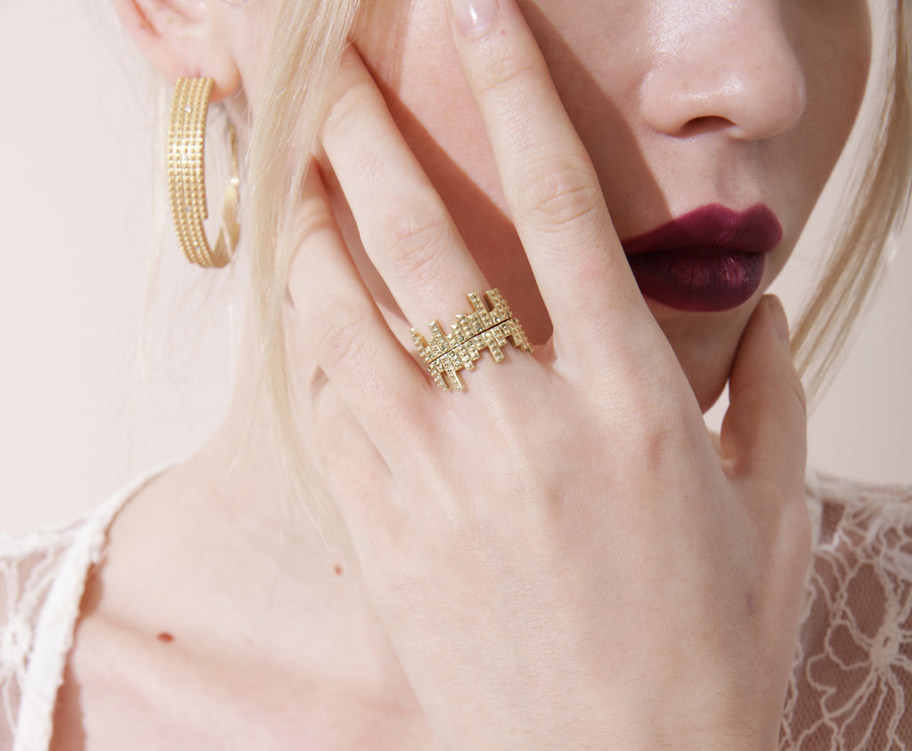 Digit Ring Set - Gold Satin - Charlotte Valkeniers Design Ltd