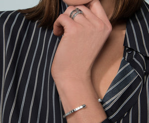 Open Cube Bangle - white gold