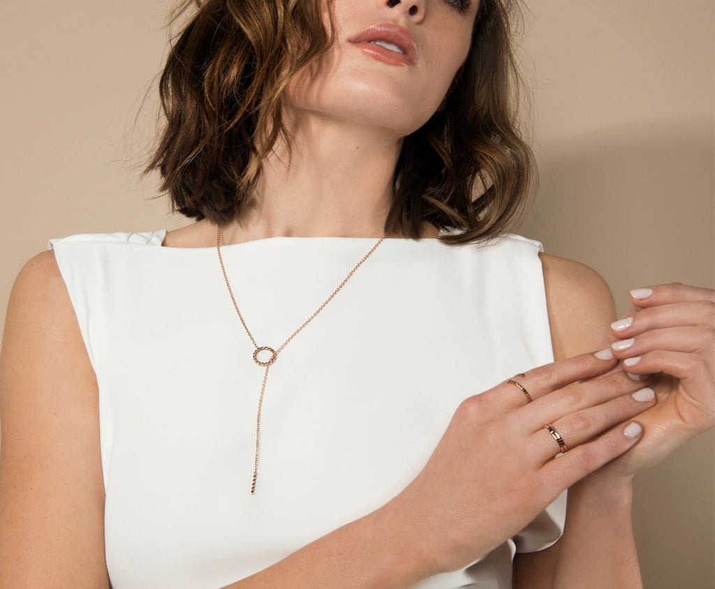 Cube Necklace - Rose Gold - Charlotte Valkeniers Design Ltd