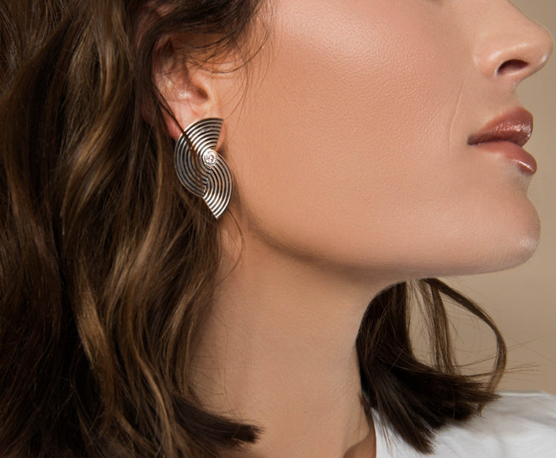 Large Spectrum Earrings - Silver Polished