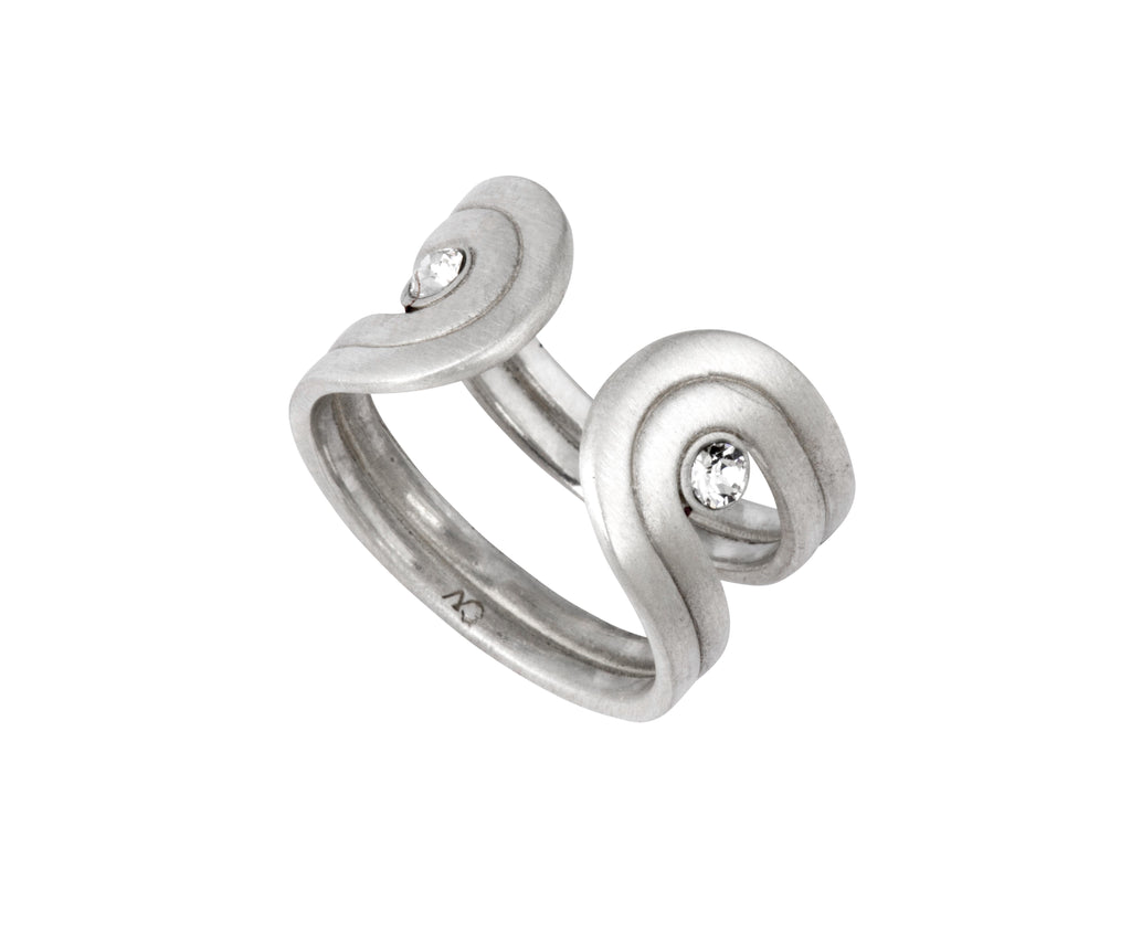 Pilot Ring - Silver Satin - Charlotte Valkeniers Design Ltd