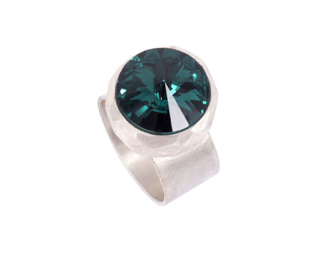 Large Swarovski Ring - satin silver - Dark Green - Charlotte Valkeniers Design Ltd