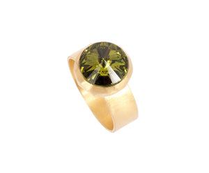 Small Swarovski Ring - Satin gold - Olive