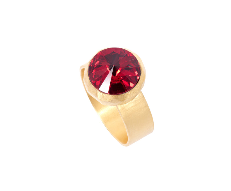 Small Swarovski Ring - Satin gold - Red