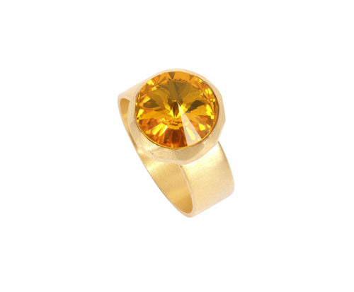 Small Swarovski Ring - Satin gold - Yellow