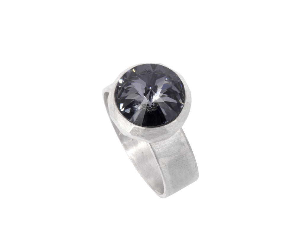 Small Swarovski Ring - satin silver - Grey