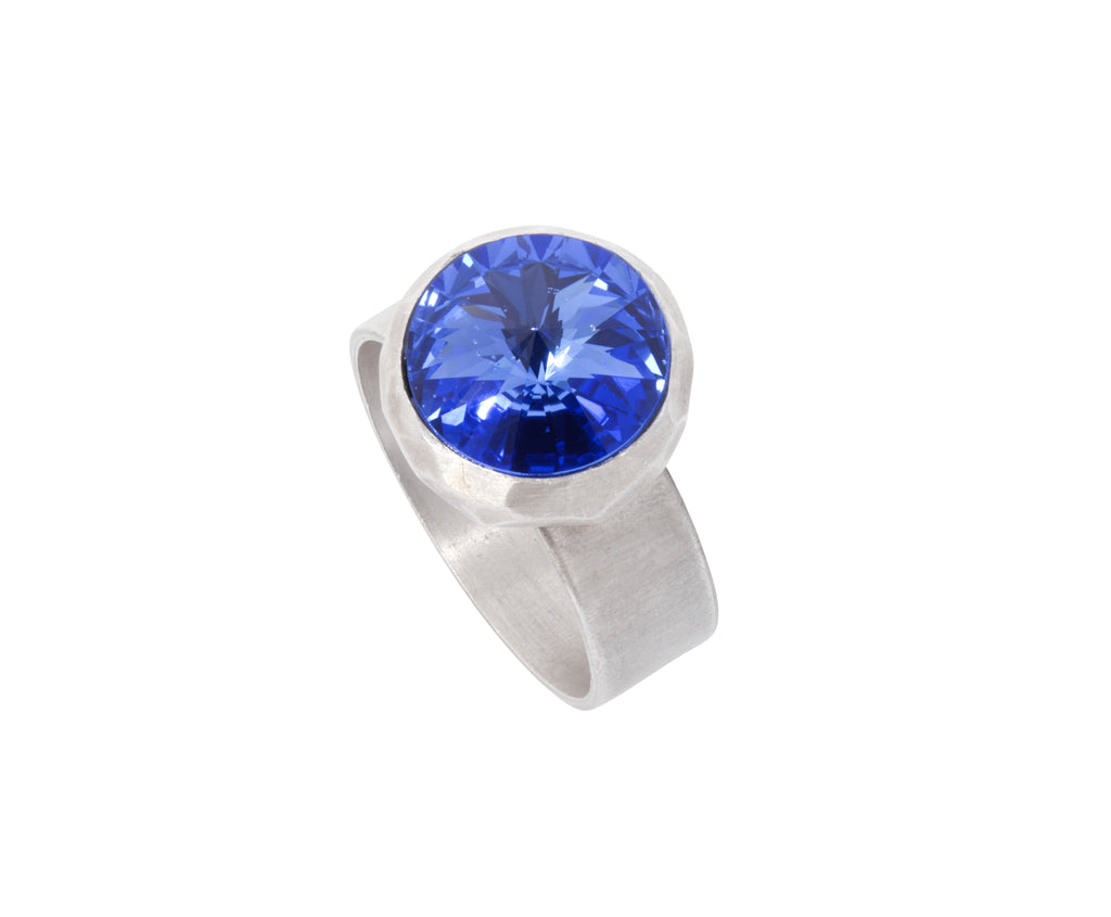 Small Swarovski Ring - satin silver - Bright Blue - Charlotte Valkeniers Design Ltd