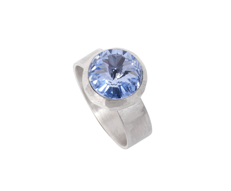 Small Swarovski Ring - satin silver - Light Blue