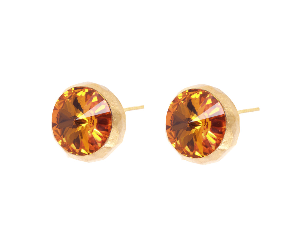 Swarovski Studs - Gold Satin  - Orange - Charlotte Valkeniers Design Ltd