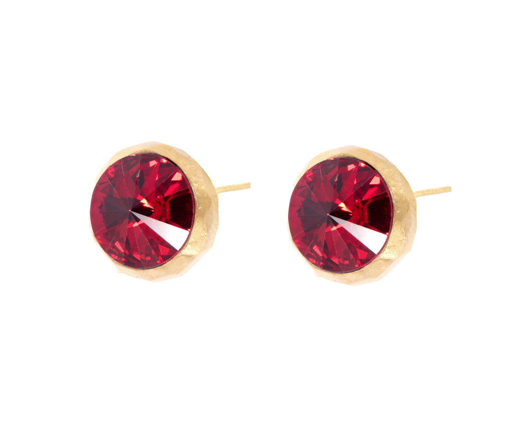 Swarovski Studs - Gold Satin  - Red - Charlotte Valkeniers Design Ltd