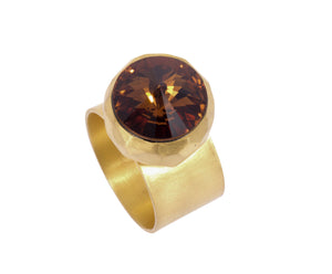 Large Swarovski Ring - satin gold - Brown - Charlotte Valkeniers Design Ltd