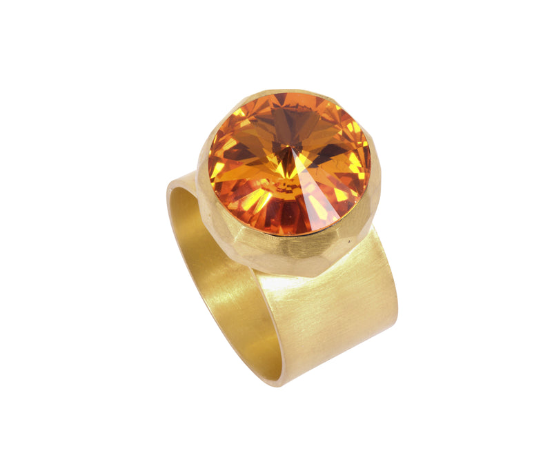 Large Swarovski Ring - satin gold - Orange - Charlotte Valkeniers Design Ltd