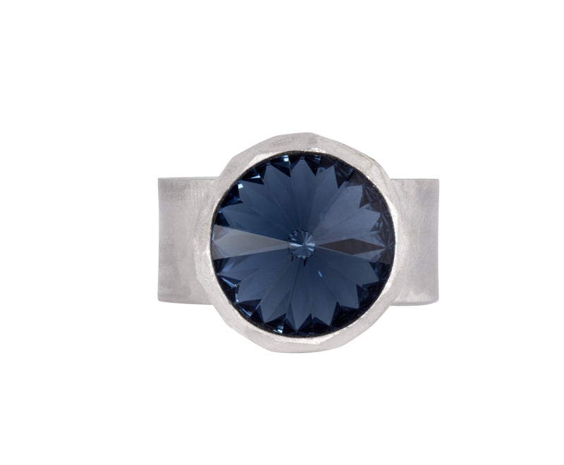 Large Swarovski Ring - satin silver - Dark Blue