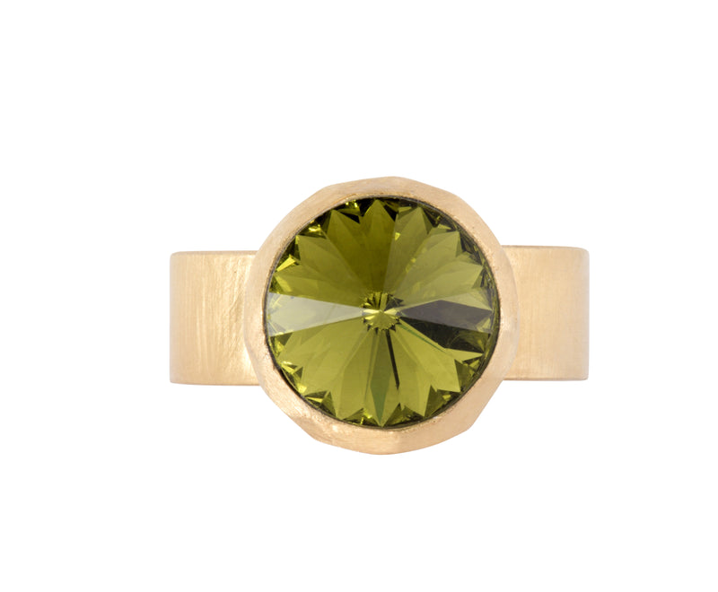 Small Swarovski Ring - Satin gold - Olive - Charlotte Valkeniers Design Ltd