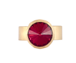 Small Swarovski Ring - Satin gold - Red - Charlotte Valkeniers Design Ltd