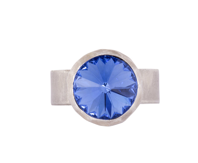 Small Swarovski Ring - satin silver - Bright Blue