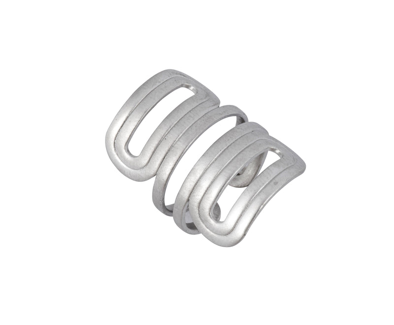 Wave Ring - Silver Satin - Charlotte Valkeniers Design Ltd
