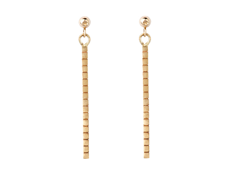 Cube Earrings - Yellow Gold - Charlotte Valkeniers Design Ltd