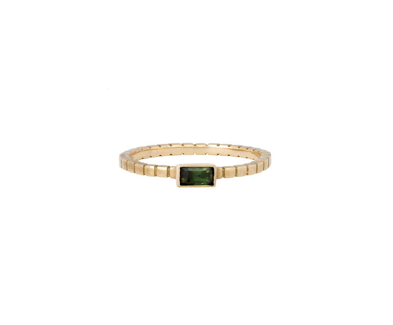 Cube Ring - Yellow Gold and Green Tourmaline - Charlotte Valkeniers Design Ltd