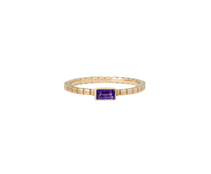 Cube Ring - Yellow Gold and Amethyst - Charlotte Valkeniers Design Ltd