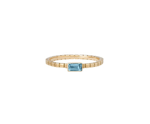 Cube Ring - Yellow Gold and Blue Topaz - Charlotte Valkeniers Design Ltd